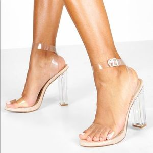 clear strapped 4 inch heels